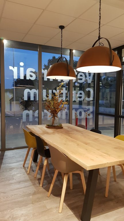 drijvers-oisterwijk-veterinair-centrum-modern-interieur-nieuwbouw-natuur-dieren-verlichting-rood-strak-lampenkap-entree-tafel (11)